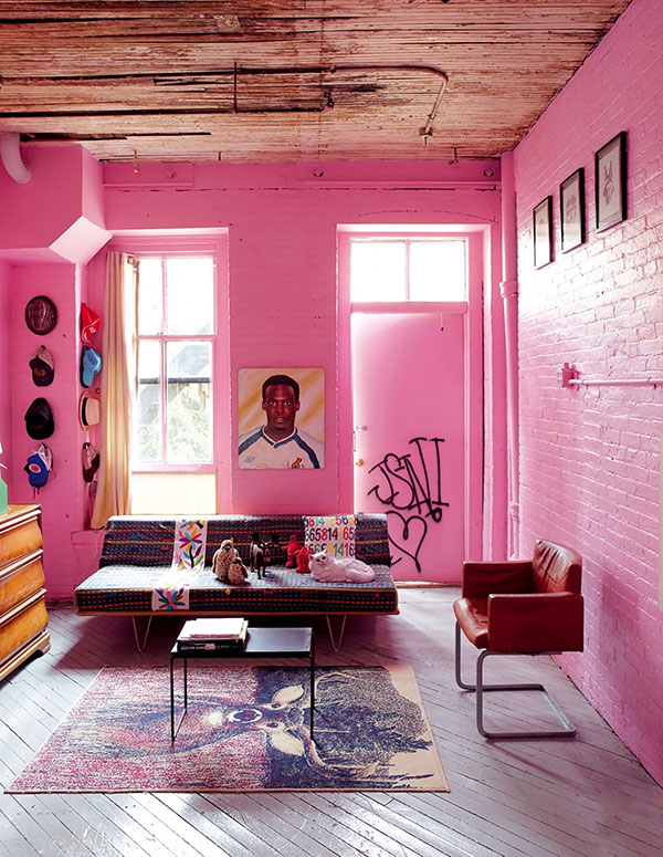 رنگ صورتی اتاق نشیمن