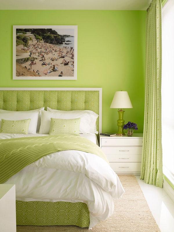 دکوراسیون اتاق خواب با رنگ سبز فسفری
