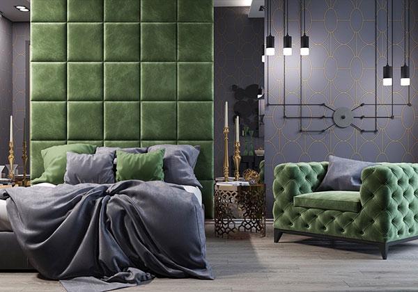 چیدمان اتاق خواب به رنگ سبز