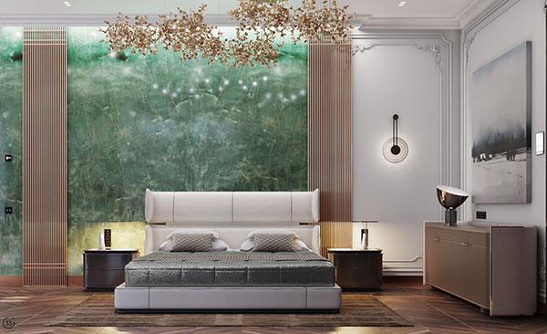 دیوار اتاق خواب به رنگ سبز