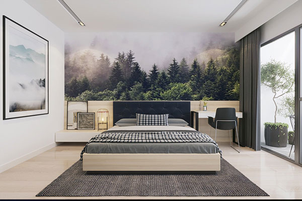 کاغذ دیواری سبز اتاق خواب