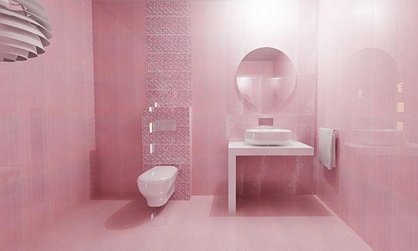 دکوراسیون سرویس بهداشتی و حمام صورتی