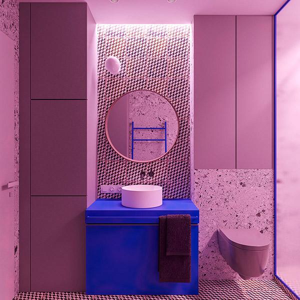 سرویس بهداشتی آبی و صورتی