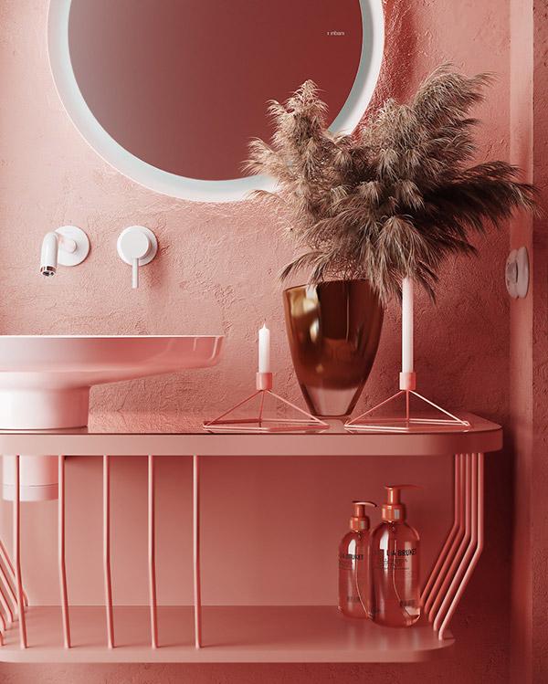 سرویس بهداشتی با رنگ صورتی