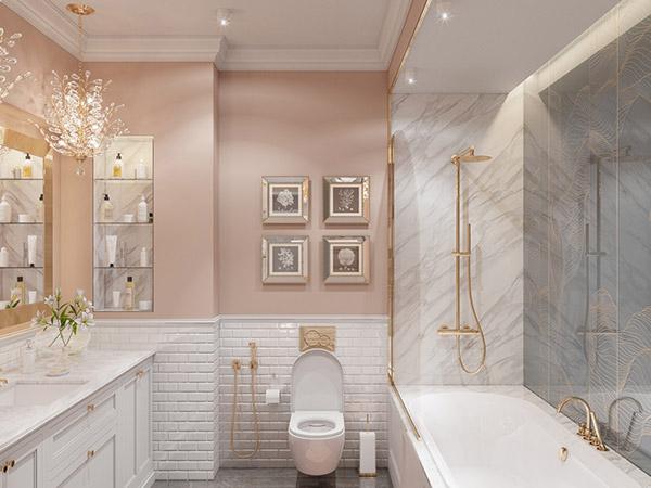 سرویس بهداشتی سفید و طلایی و صورتی