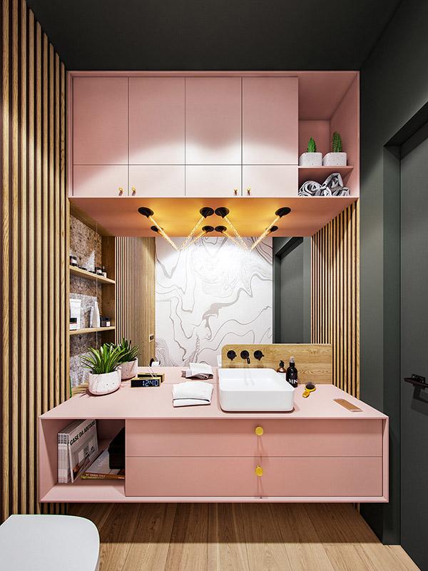 سرویس بهداشتی چوبی صورتی