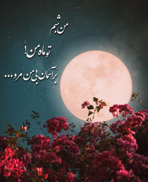 عکس عاشقانه ماه و آسمان شب