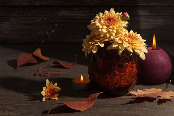 تصویر گل و شمع زیبا