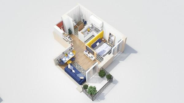نقشه خانه 75 متری یک خوابه