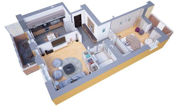 نقشه خانه یک خوابه
