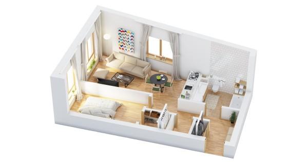نقشه پلان خانه یک خوابه