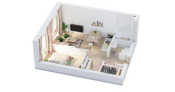 نقشه خانه یک خوابه 50 متری