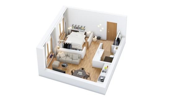نقشه خانه یک خوابه ساده