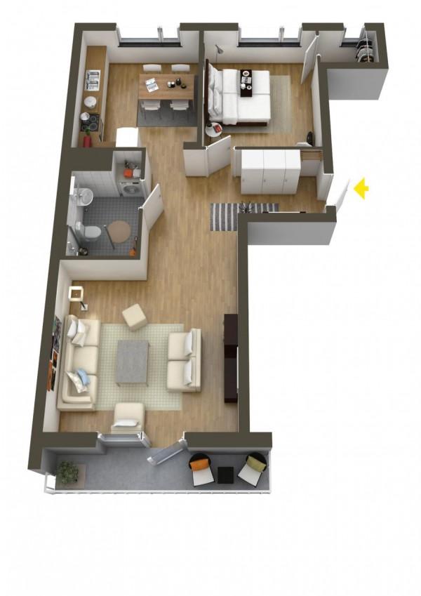 پلان و تقشه آپارتمان یک خوابه