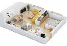 نقشه منزل مسکونی یک خوابه