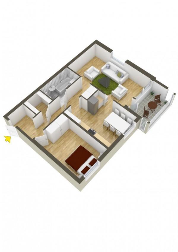 نقشه سه بعدی خانه ویلایی یک خوابه
