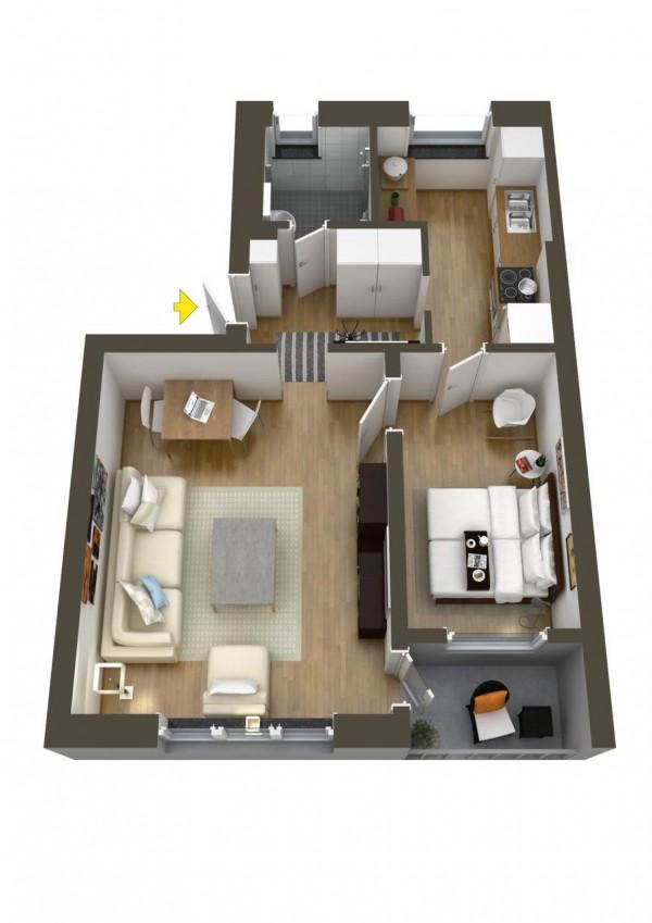 نقشه خانه 1 خوابه 120 متری ویلایی