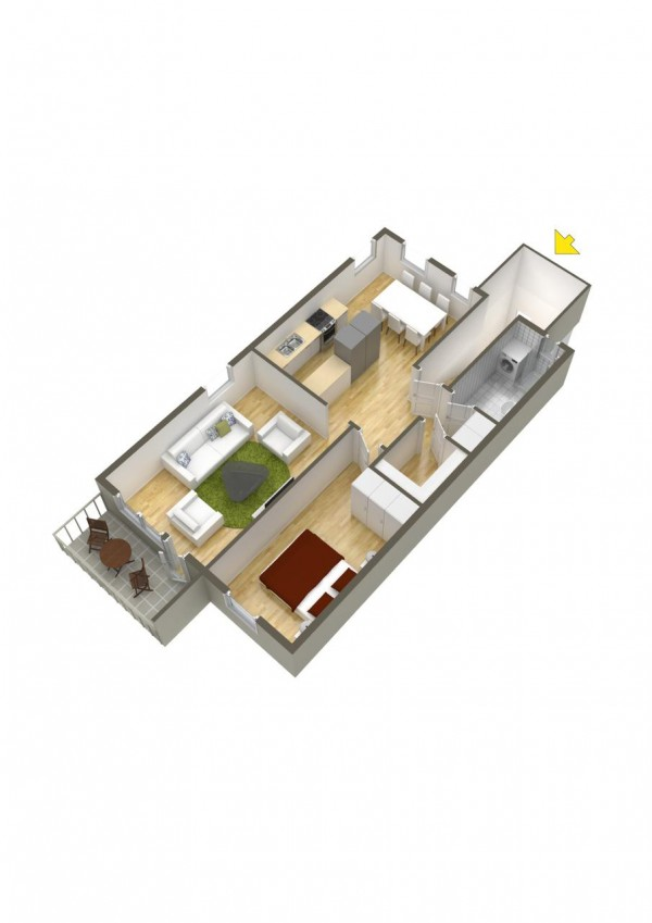 نقشه ساختمان یک خوابه ویلایی