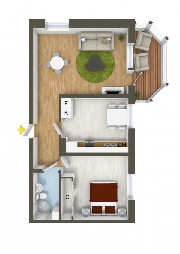 نقشه خانه 1 خوابه 90 متری ویلایی