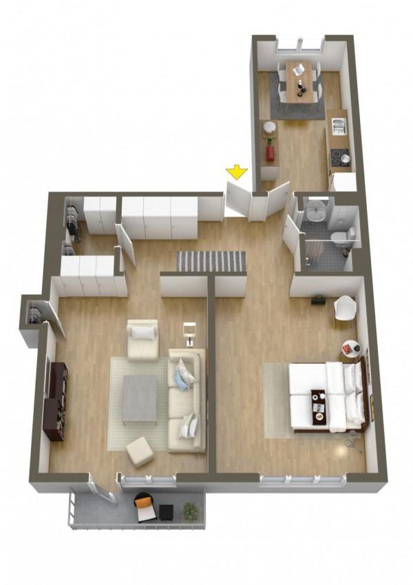 نقشه خانه 1 خوابه 110 متری ویلایی
