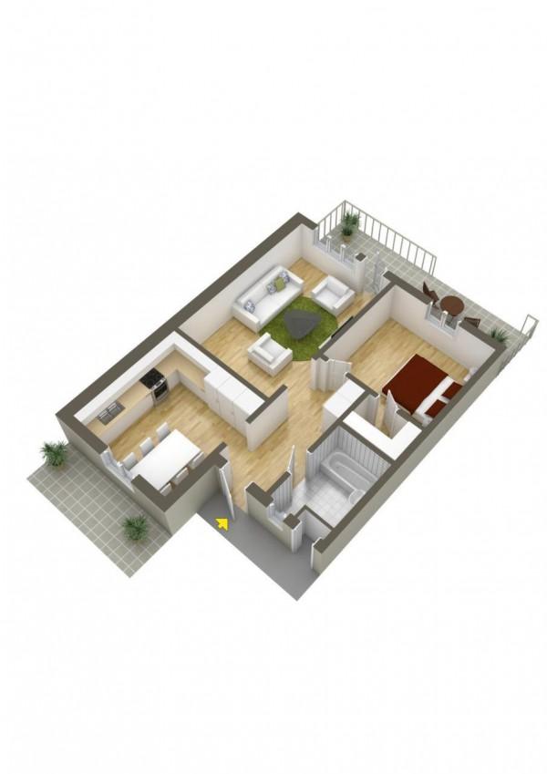 پلان سه بعدی خانه ویلایی یک خوابه