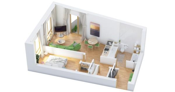 نقشه خانه ویلایی یک خوابه