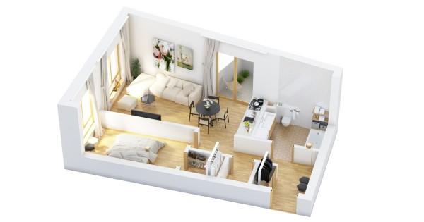 نقشه خانه یک خوابه 70 متری
