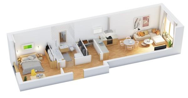 نقشه خانه یک خوابه 90 متری