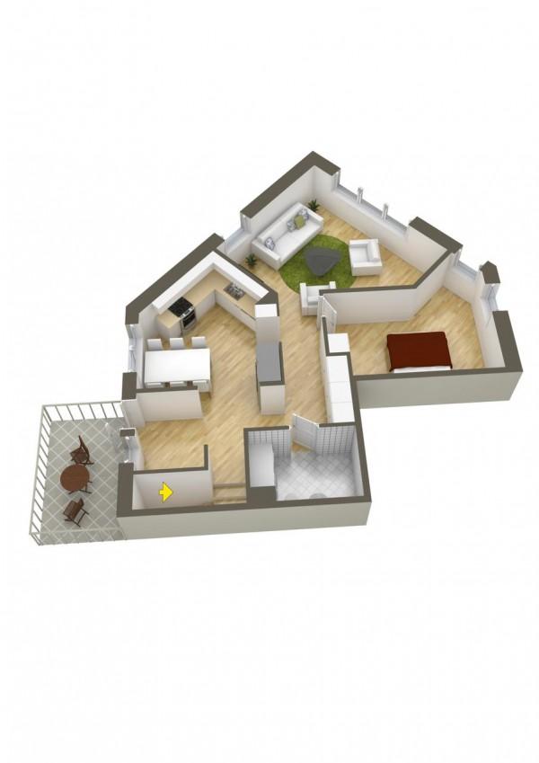 نقشه خانه یک طبقه یک خوابه
