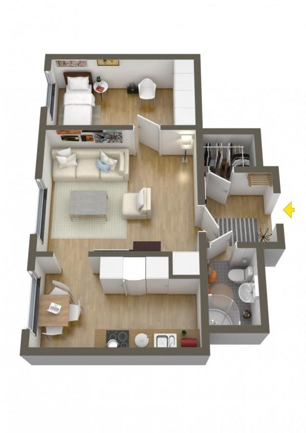 نقشه خانه 1 خوابه 100 متری ویلایی