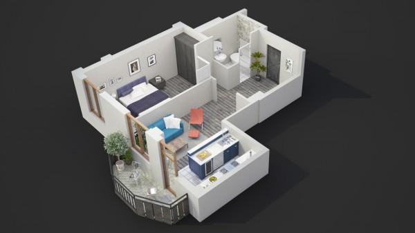 نقشه سه بعدی خانه یک خوابه