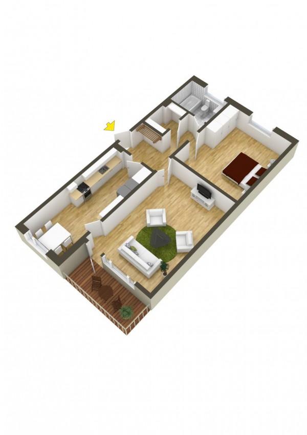 پلان خانه یک طبقه یک خوابه
