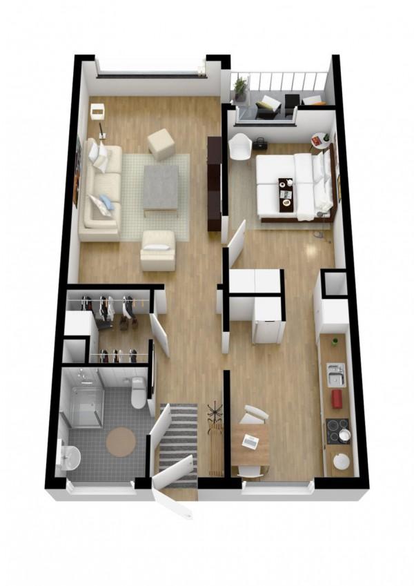 نقشه خانه مسکونی یک خوابه