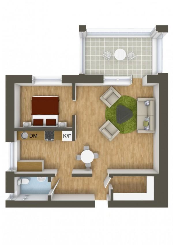 نقشه خانه 1 خوابه ساده