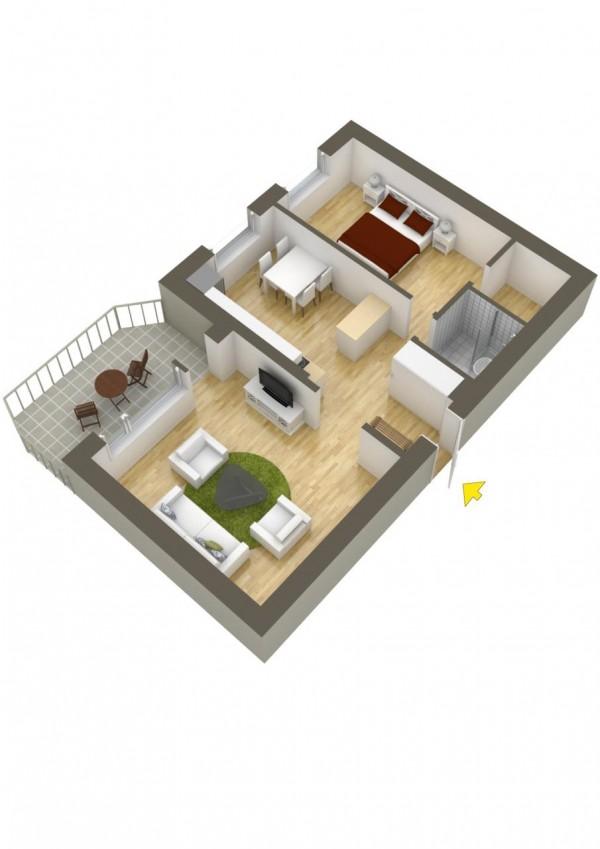 پلان سه بعدی خانه یک خوابه