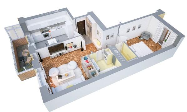 پلان خانه ویلایی یک خوابه