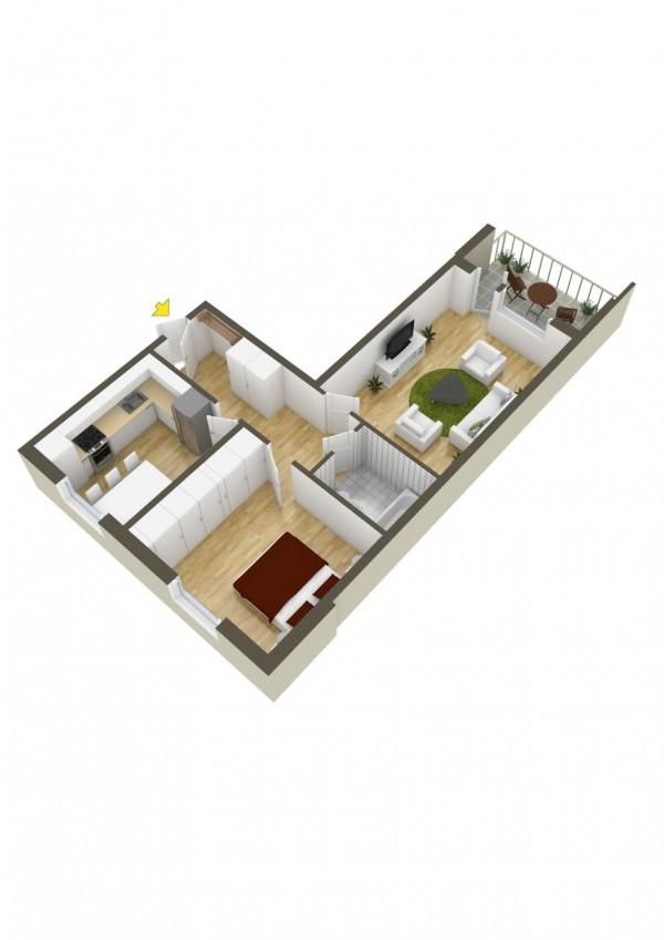 نقشه خانه یک خوابه 120 متری