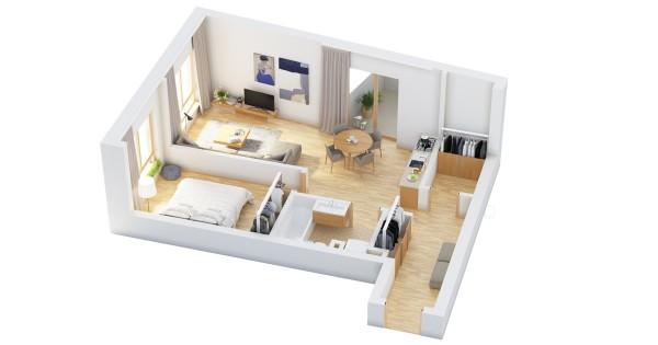 نقشه خانه یک خوابه 60 متری