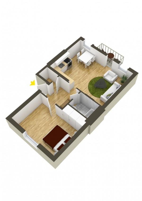 پلان چیدمان سه بعدی آپارتمان یک خوابه
