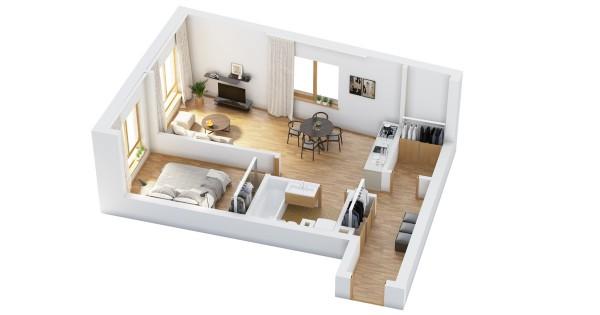 نقشه آپارتمان یک خوابه 50 متری