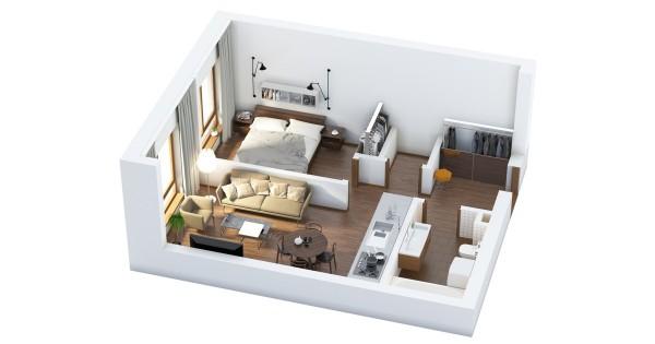 پلان آپارتمان یک خوابه