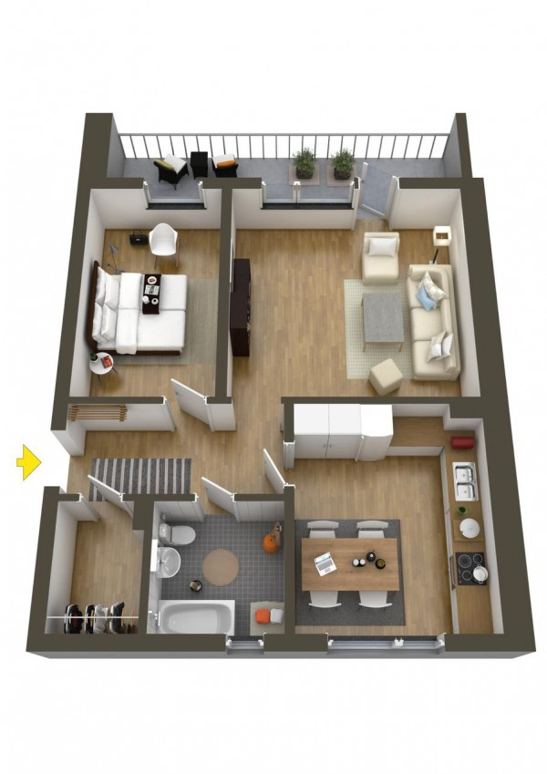 نقشه خانه یک خوابه 110 متری