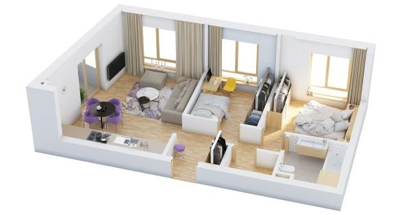 نقشه خانه مسکونی دو خوابه