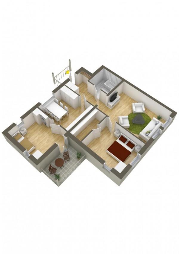 نقشه خانه 2 خوابه مدرن