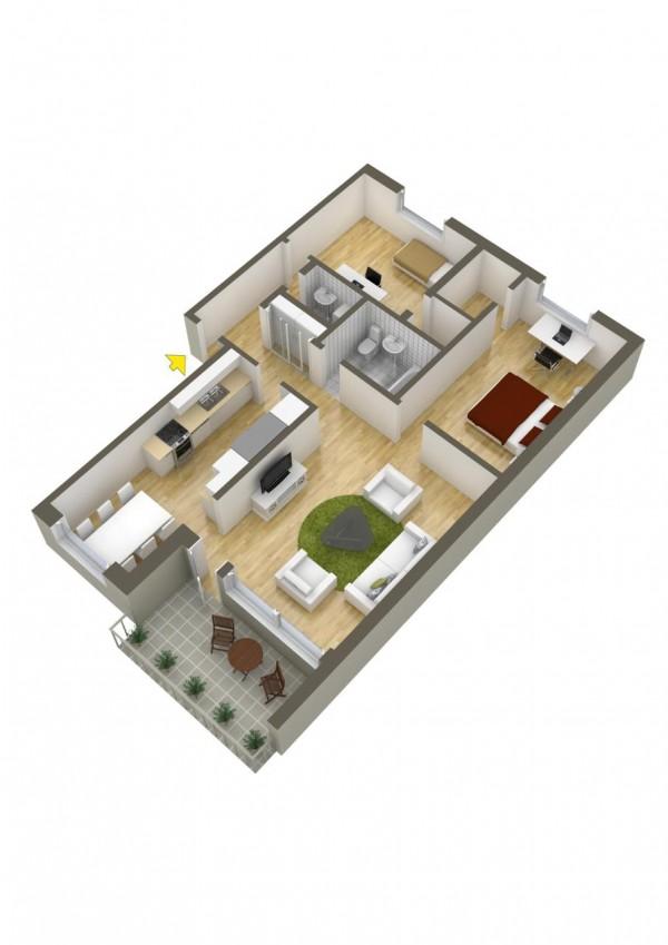 نقشه ساختمان دو خوابه شیک