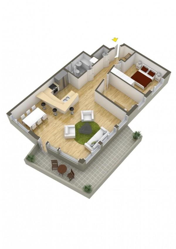 نقشه خانه دو خواب ویلایی