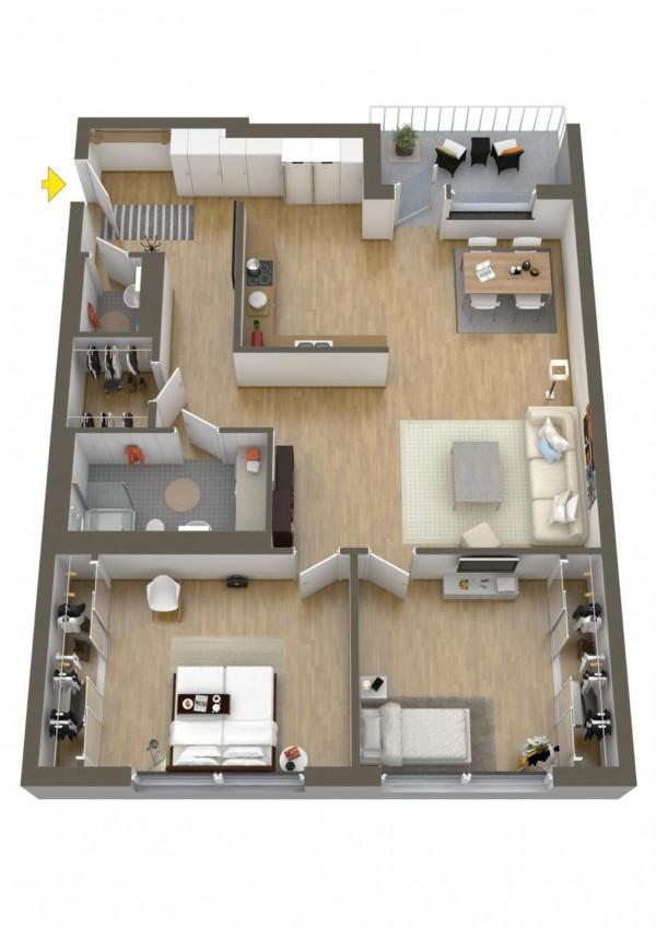 نقشه خانه دو خوابه 120 متری ویلایی