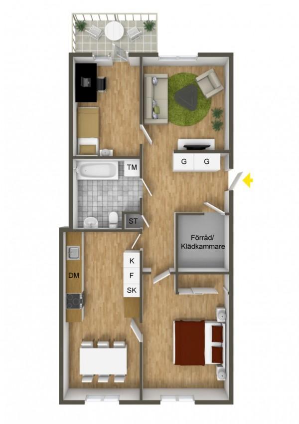 نقشه منزل دو خوابه شیک