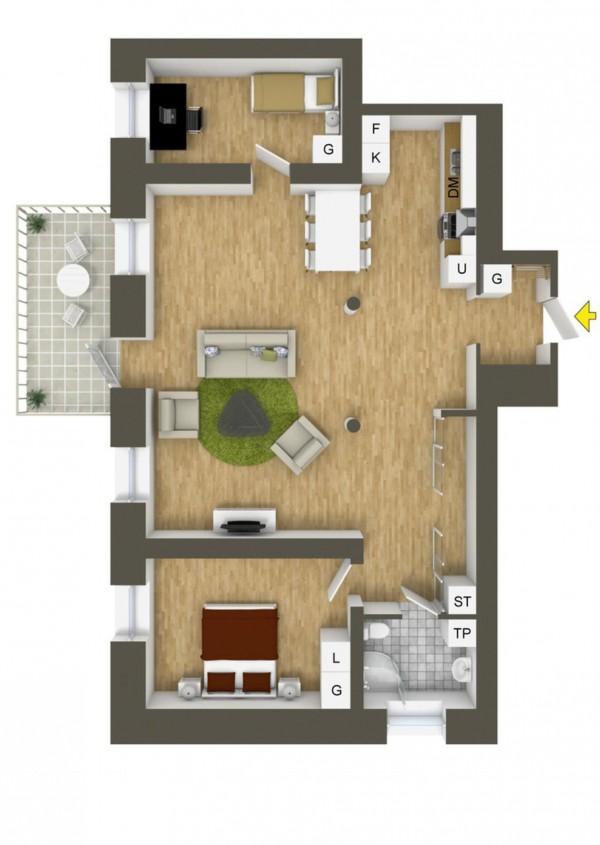 نقشه ساختمان 2 خوابه مدرن