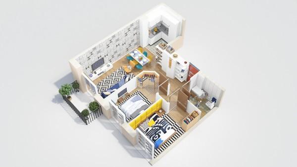 نقشه خانه دو خوابه ویلایی